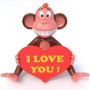 Mono amor modelo 3d