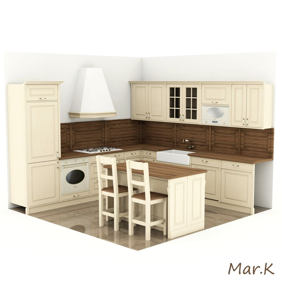 Kitchen (3) royalty-free 3d model - Preview no. 1