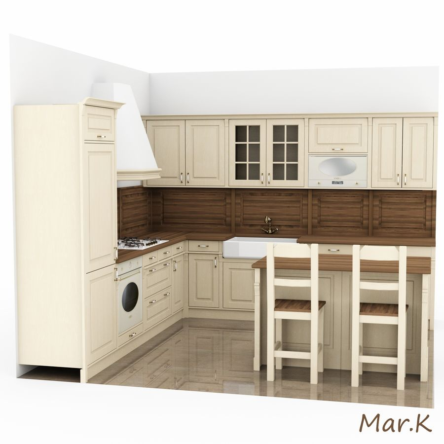 Kitchen (3) royalty-free 3d model - Preview no. 2