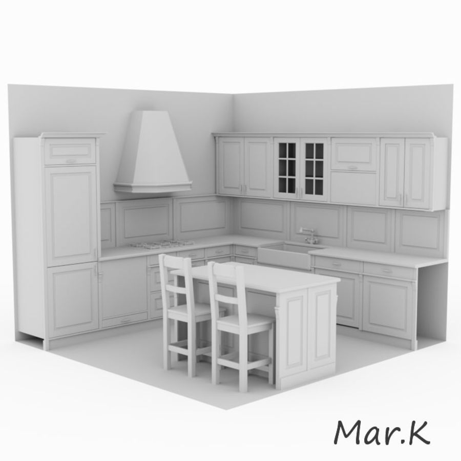 Kitchen (3) royalty-free 3d model - Preview no. 6