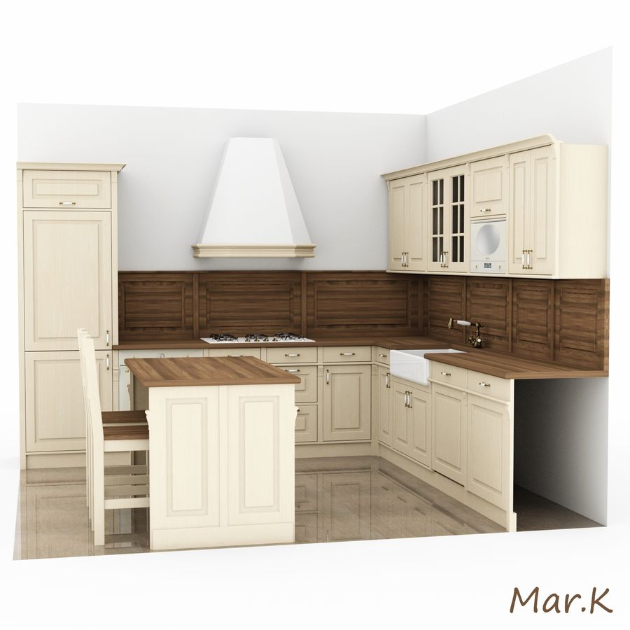 Kitchen (3) royalty-free 3d model - Preview no. 3