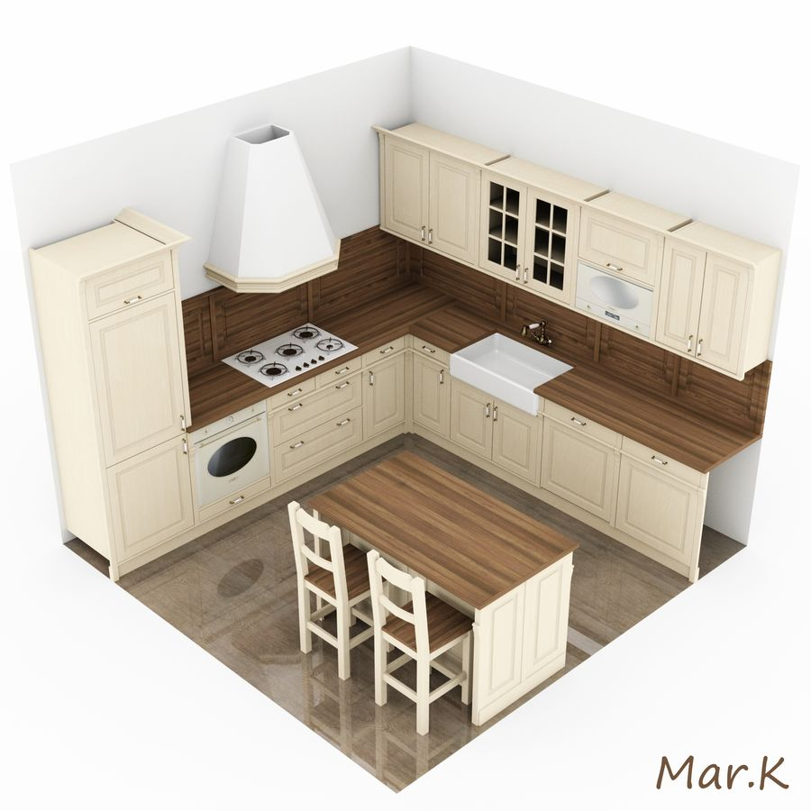 Kitchen (3) royalty-free 3d model - Preview no. 4