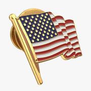 Pin de la bandera americana modelo 3d