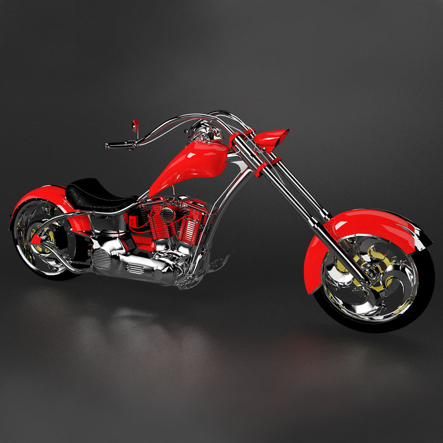 Motocykl Chopper royalty-free 3d model - Preview no. 2