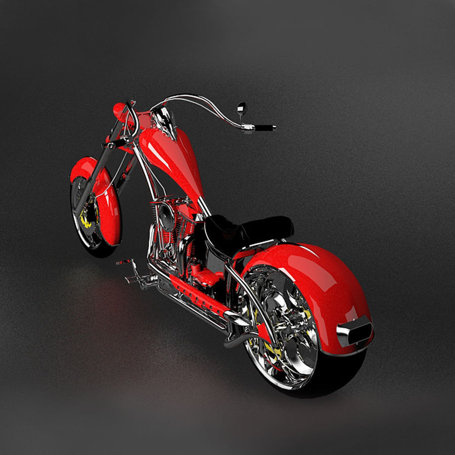 Motocykl Chopper royalty-free 3d model - Preview no. 4