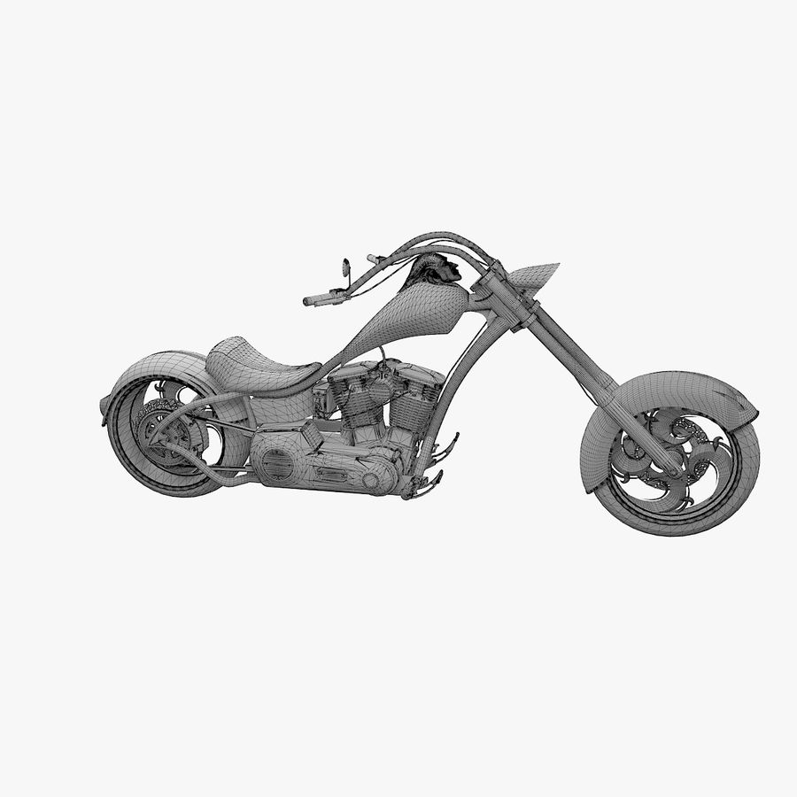 Motocykl Chopper royalty-free 3d model - Preview no. 8