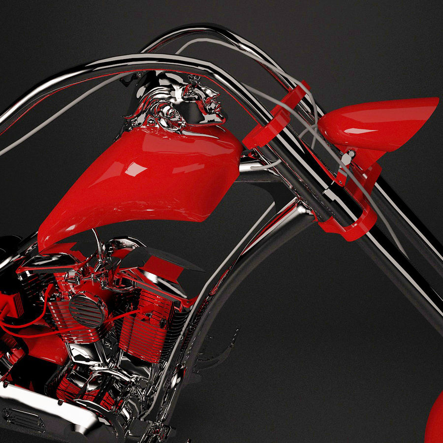 Motocykl Chopper royalty-free 3d model - Preview no. 6