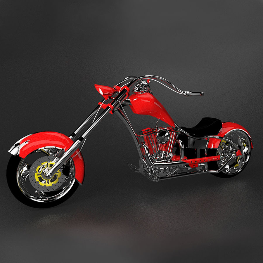 Motocykl Chopper royalty-free 3d model - Preview no. 5