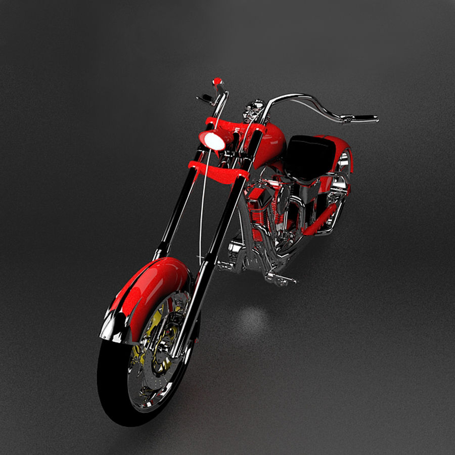 Motocykl Chopper royalty-free 3d model - Preview no. 3