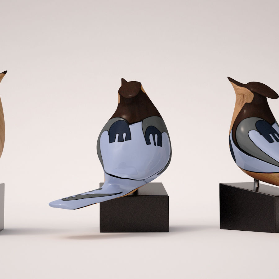 Antique Bird royalty-free 3d model - Preview no. 2