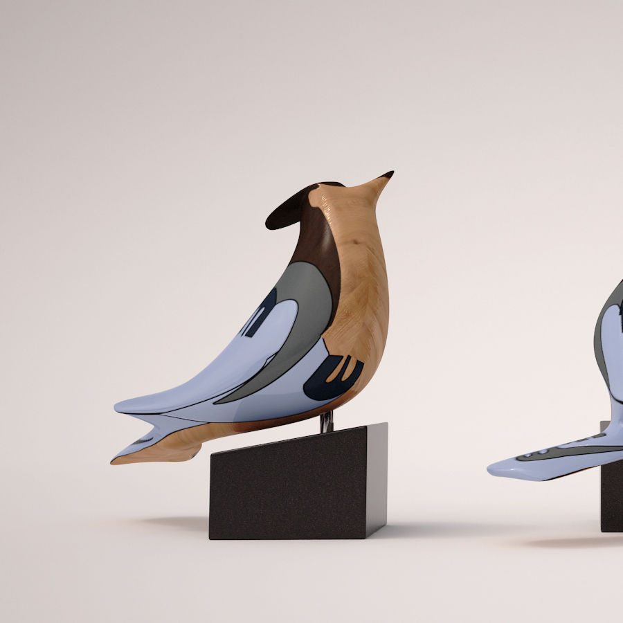 Antique Bird royalty-free 3d model - Preview no. 3