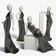 Woman mannequin Leather dress long 3d model