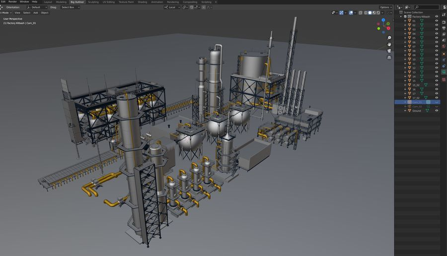 Factory Kitbash royalty-free 3d model - Preview no. 35