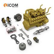 Części silnika do ciężkich pojazdów przemysłowych 3d model