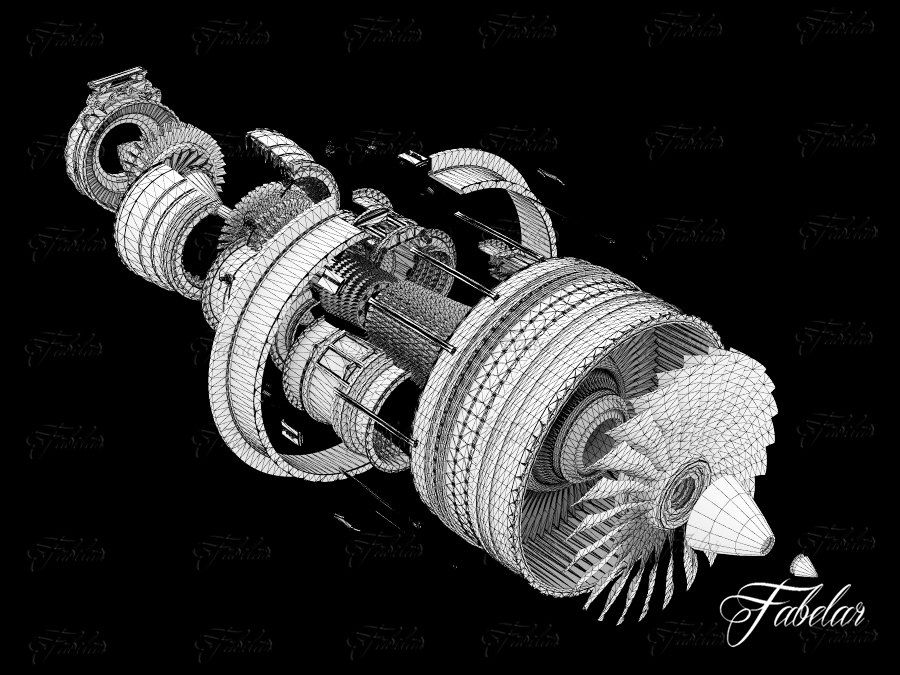 Motor a jato royalty-free 3d model - Preview no. 10