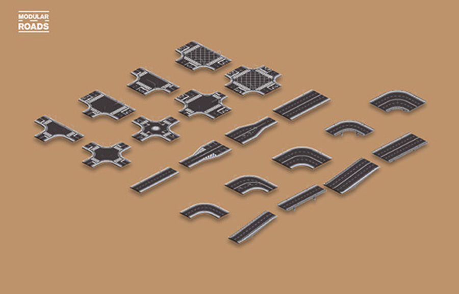 Modular Roads royalty-free 3d model - Preview no. 4