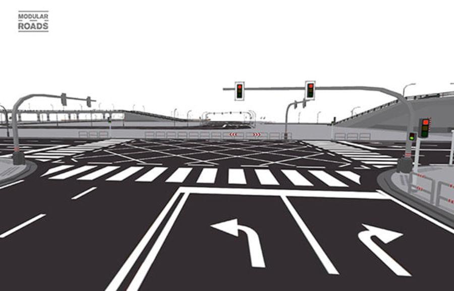 Modular Roads royalty-free 3d model - Preview no. 10