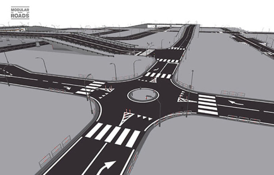 Modular Roads royalty-free 3d model - Preview no. 1