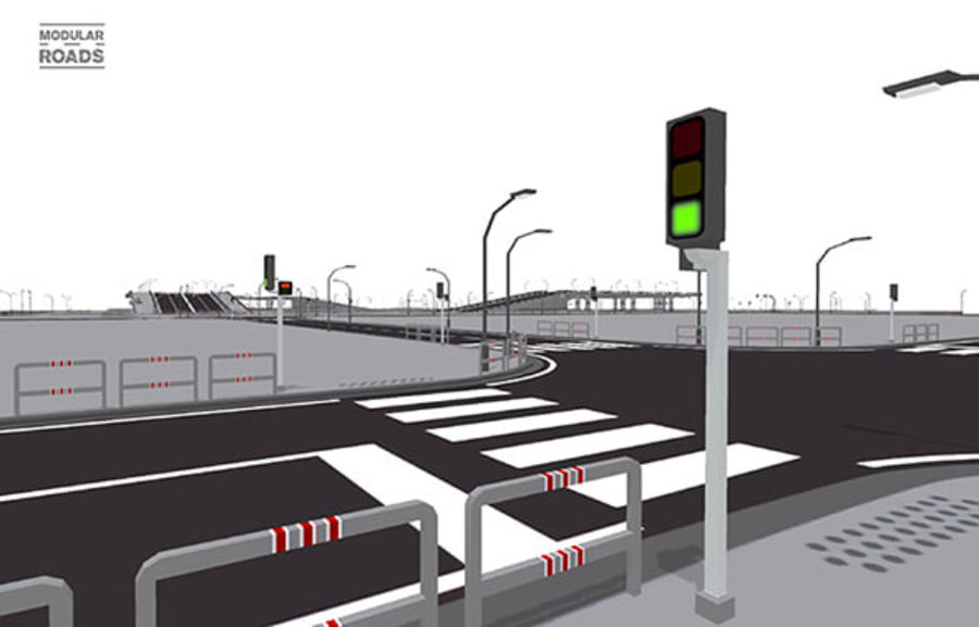 Modular Roads royalty-free 3d model - Preview no. 11