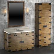 Armário e lavatório de prata da herança 3d model