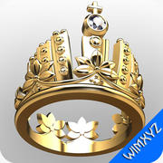 Crown engagement ring 3d model