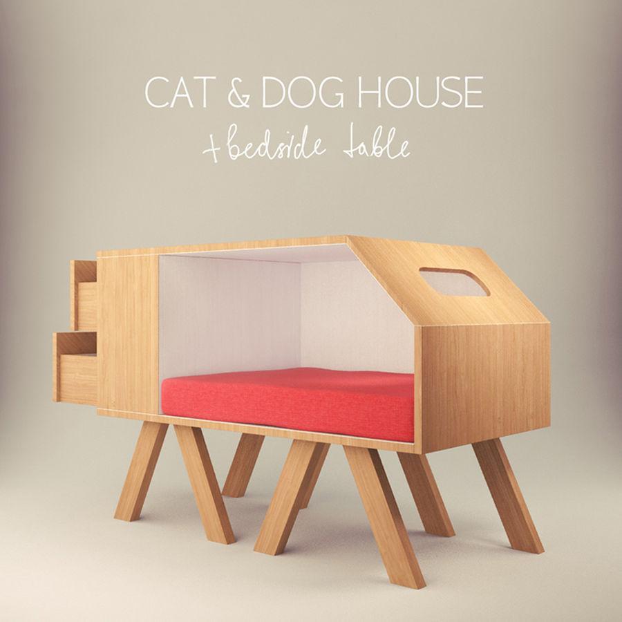 Hundar och katter hus royalty-free 3d model - Preview no. 1