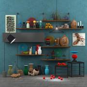 Decorative set accessories+furniture+floor lamp 3d model