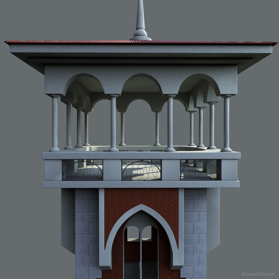architektura Wieża royalty-free 3d model - Preview no. 12