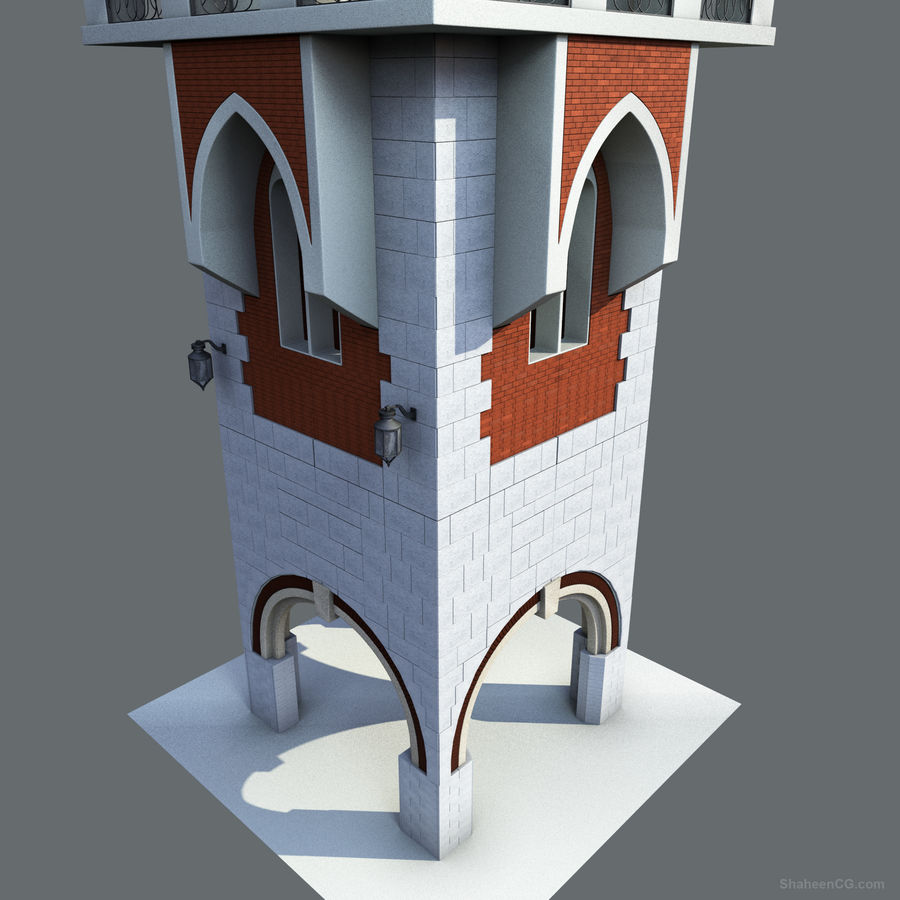architektura Wieża royalty-free 3d model - Preview no. 2