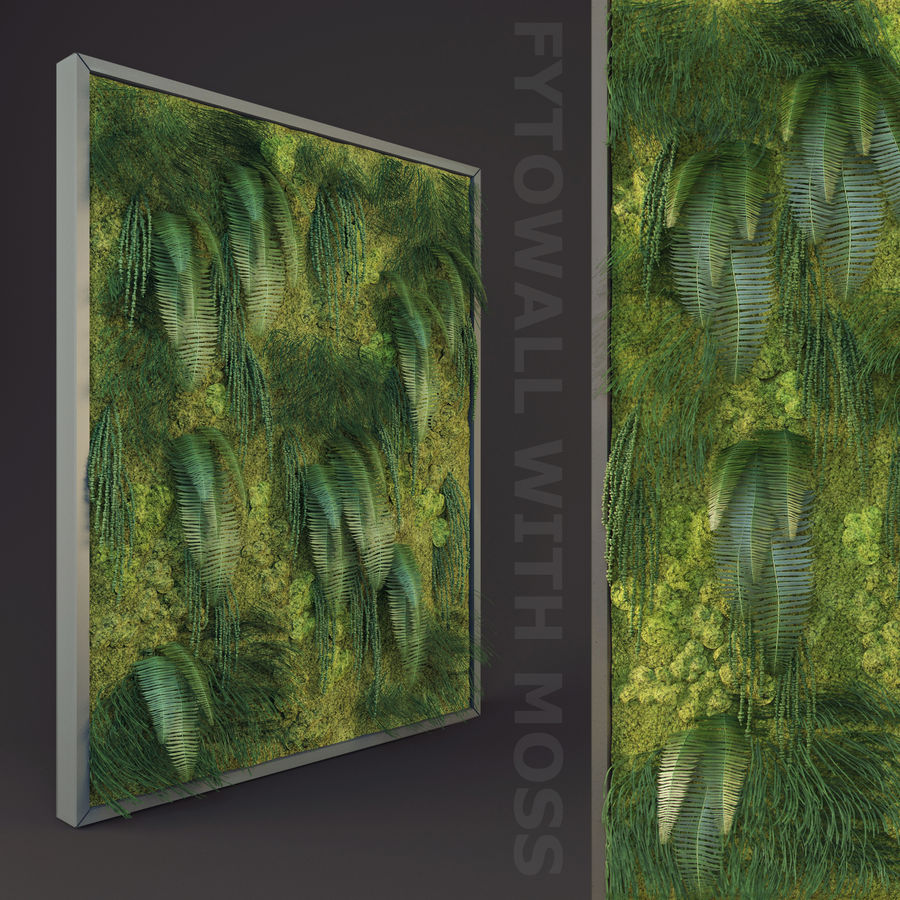Fytowall with moss royalty-free 3d model - Preview no. 1