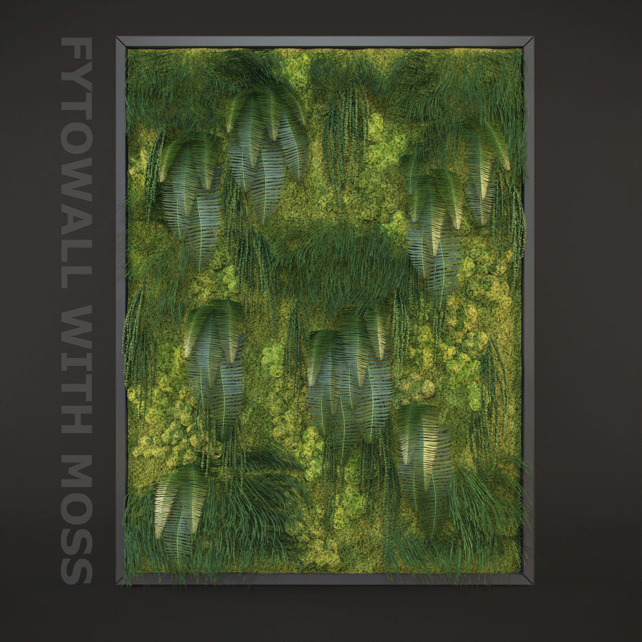 Fytowall with moss royalty-free 3d model - Preview no. 2