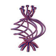 Achtteiliger Kerzenhalter mit Streifen 3d model