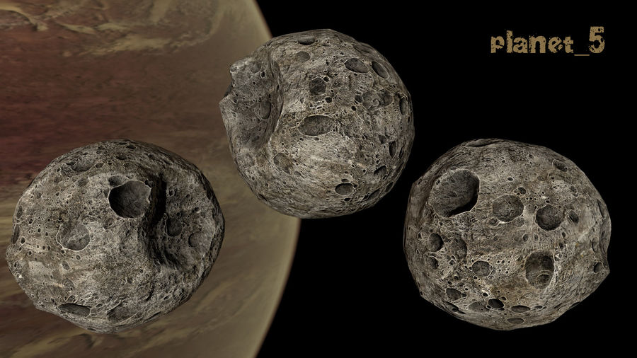Conjunto de asteroides royalty-free modelo 3d - Preview no. 18