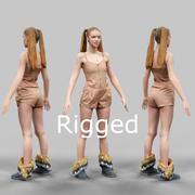 Mädchen im beige Jumpsuit und im doppelten Pferdeschwanz manipuliert 3d model