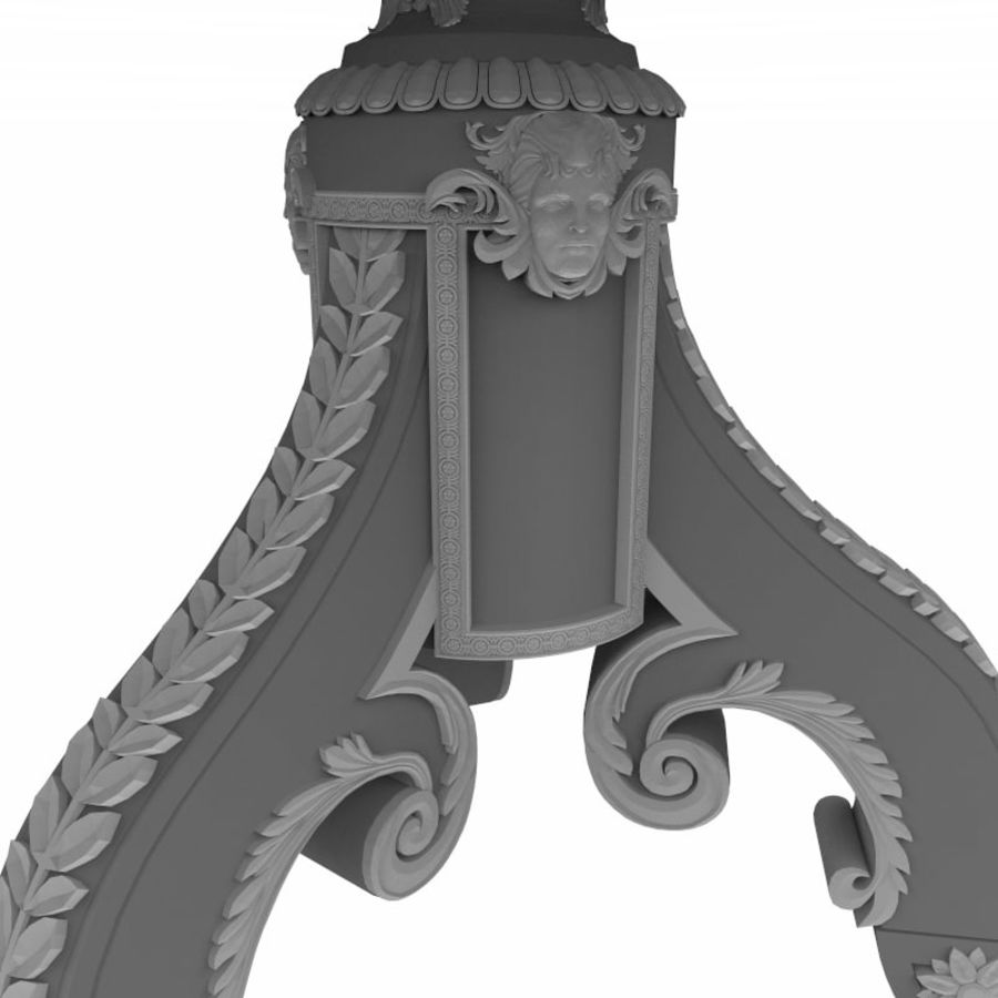 Antique Baroque Center Table royalty-free 3d model - Preview no. 10