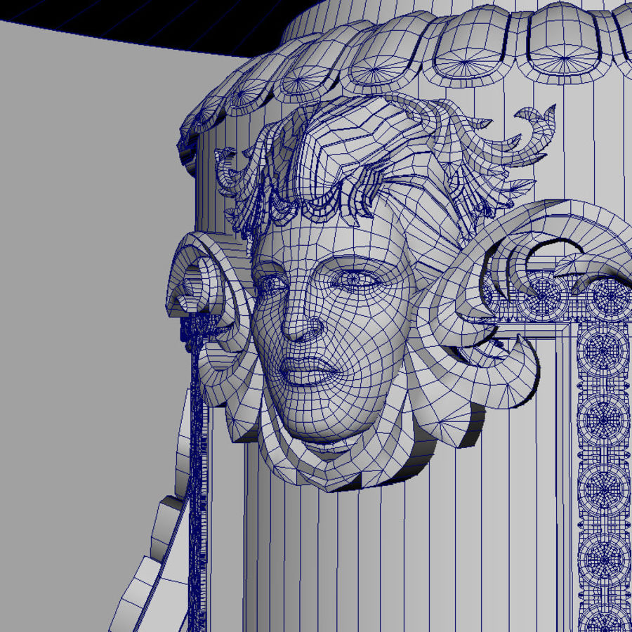 Antique Baroque Center Table royalty-free 3d model - Preview no. 8