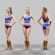 Mulher sexy em biquíni azul e laranja posando de biquíni 1 3d model