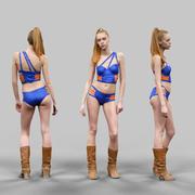 青とオレンジの水着ビキニポーズ2のセクシーな女性 3d model
