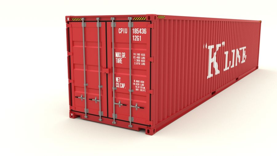 Shipping container K Line royalty-free 3d model - Preview no. 3