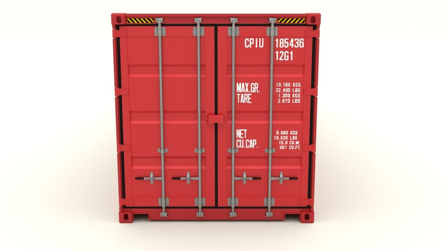 Shipping container K Line royalty-free 3d model - Preview no. 4