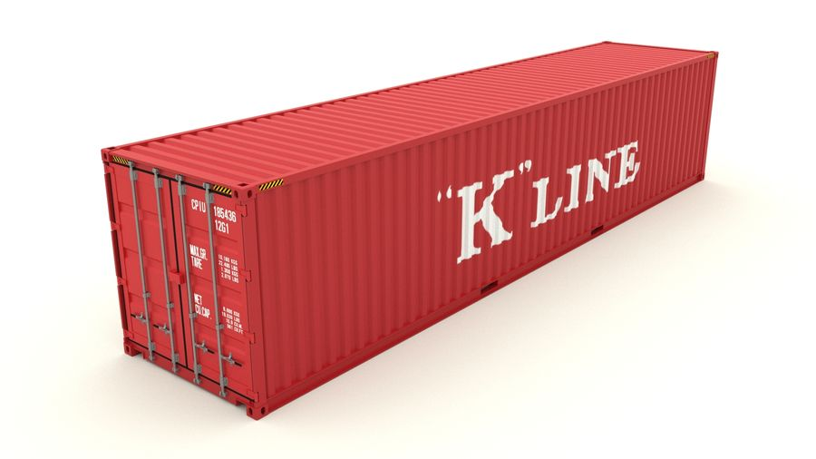 Shipping container K Line royalty-free 3d model - Preview no. 2