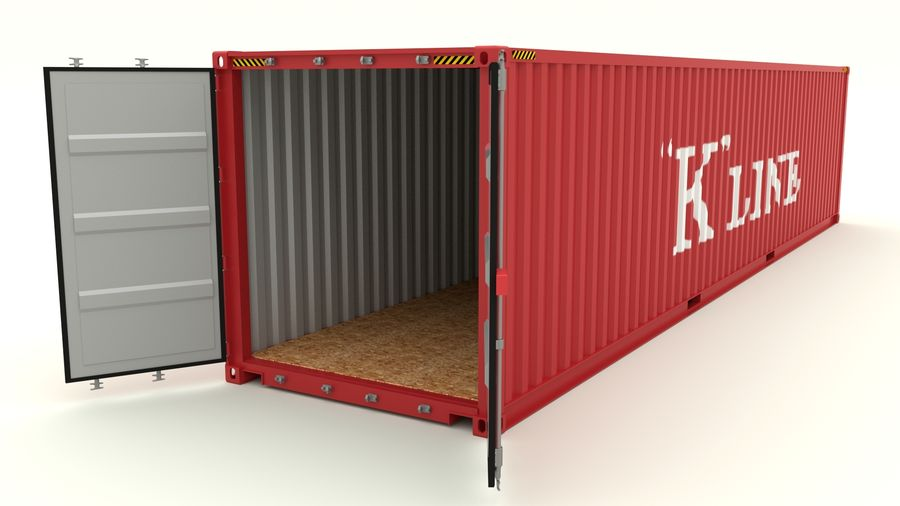 Shipping container K Line royalty-free 3d model - Preview no. 5