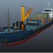 貨物船-低ポリ 3d model
