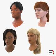Kolekcja kobiecych głów 3d model