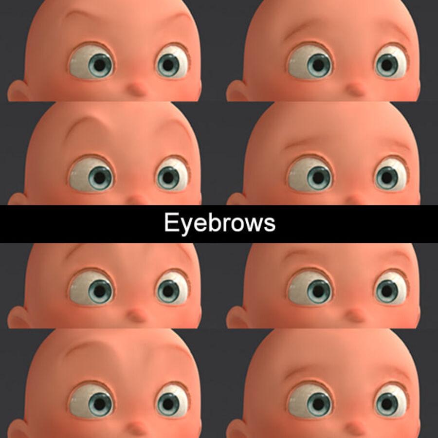 Мультипликационный ребенок с выражениями лица royalty-free 3d model - Preview no. 12