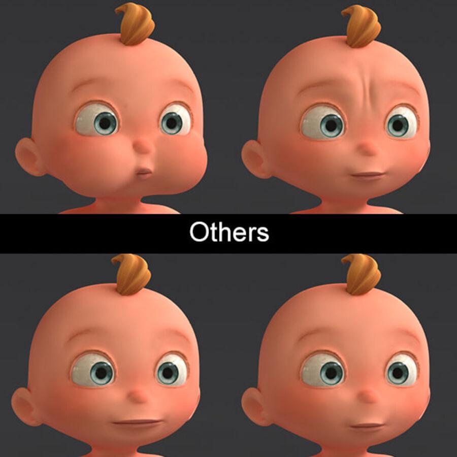 Мультипликационный ребенок с выражениями лица royalty-free 3d model - Preview no. 15
