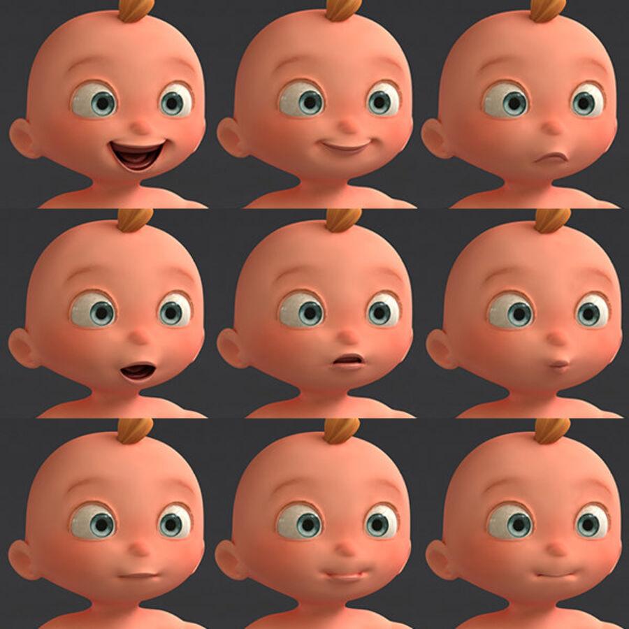 Мультипликационный ребенок с выражениями лица royalty-free 3d model - Preview no. 14