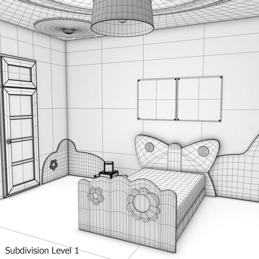 만화 침실 royalty-free 3d model - Preview no. 26