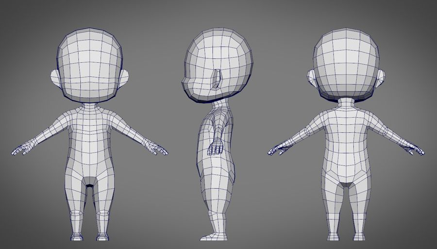 Male SD Character Base Low Poly Model royalty-free 3d model - Preview no. 3