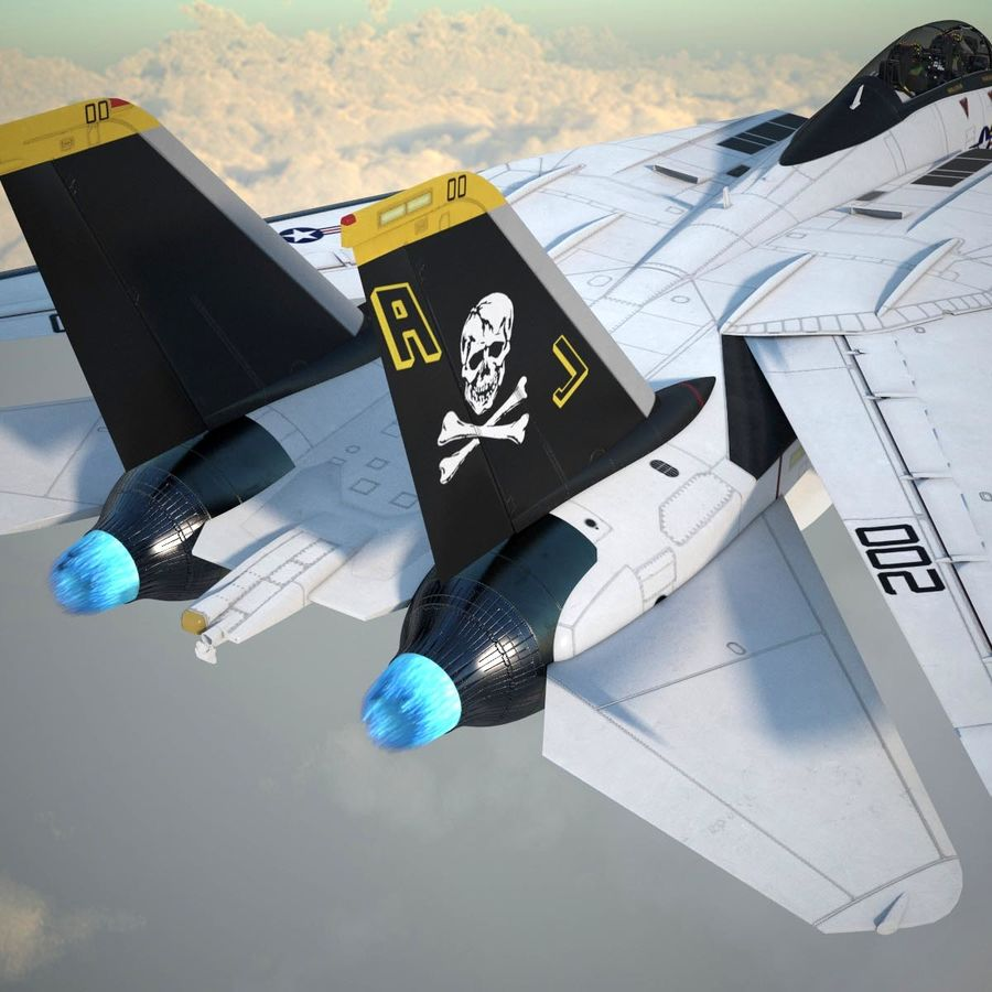 F-14A Tomcat VF-84 Jolly Rogers 1977 royalty-free 3d model - Preview no. 13